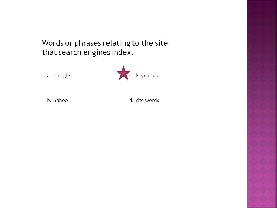 Words or phrases relating to the site that search engines index.