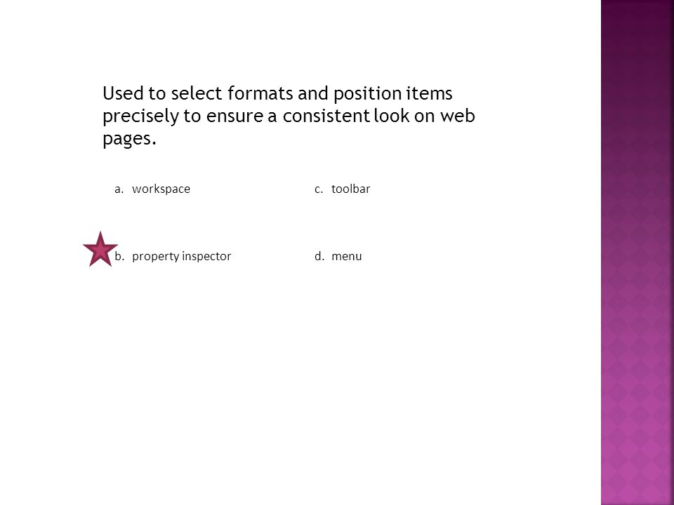 Used to select formats and position items precisely to ensure a consistent look on web pages.