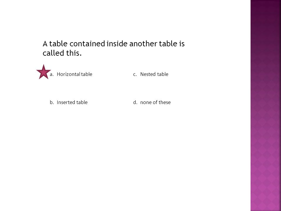 A table contained inside another table is called this.