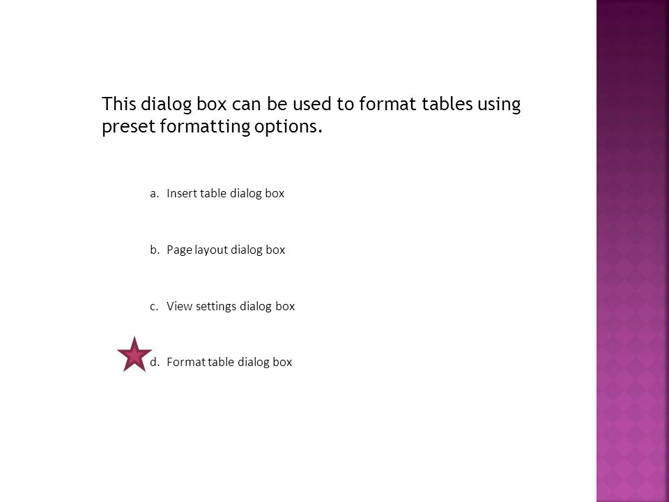 This dialog box can be used to format tables using preset formatting options.