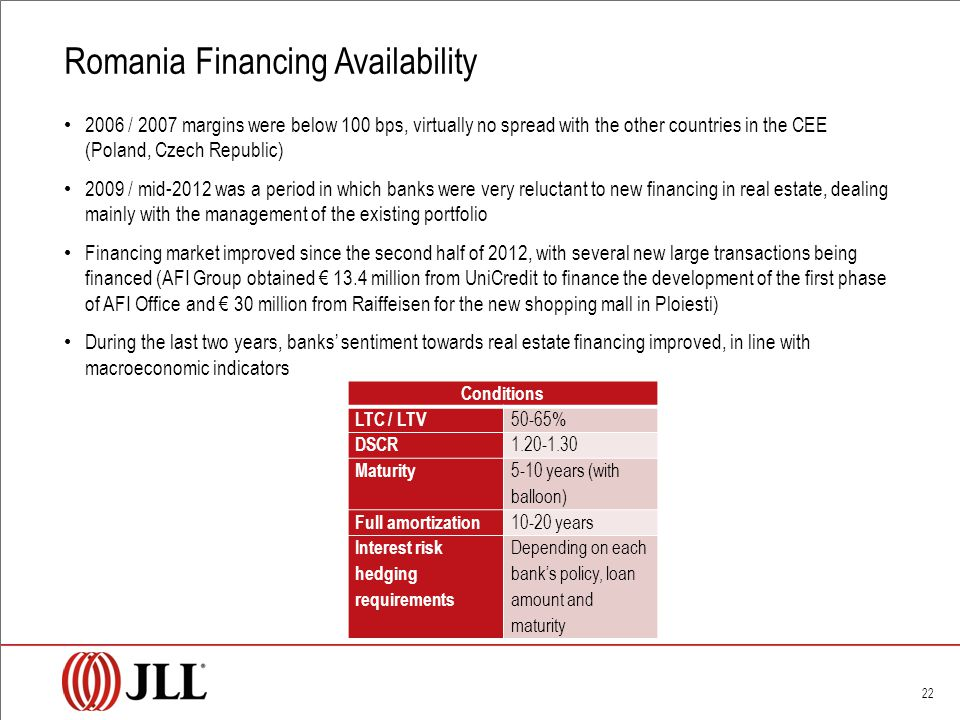 Romania Financing Availability 22 2006 / 2007 margins were below 100 bps, virtually no spread with the other countries in the CEE (Poland, Czech Republic) 2009 / mid-2012 was a period in which banks were very reluctant to new financing in real estate, dealing mainly with the management of the existing portfolio Financing market improved since the second half of 2012, with several new large transactions being financed (AFI Group obtained € 13.4 million from UniCredit to finance the development of the first phase of AFI Office and € 30 million from Raiffeisen for the new shopping mall in Ploiesti) During the last two years, banks' sentiment towards real estate financing improved, in line with macroeconomic indicators Conditions LTC / LTV 50-65% DSCR 1.20-1.30 Maturity 5-10 years (with balloon) Full amortization 10-20 years Interest risk hedging requirements Depending on each bank's policy, loan amount and maturity