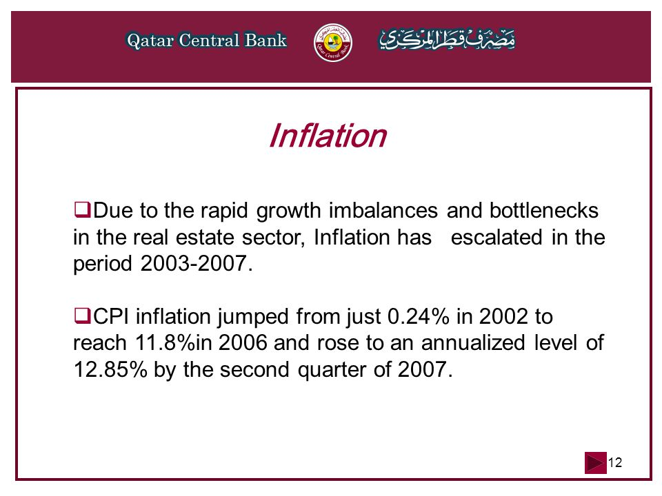 12 Inflation DDue to the rapid growth imbalances and bottlenecks in the real estate sector, Inflation has escalated in the period 2003-2007. CCPI