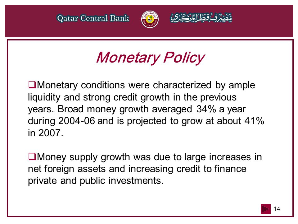 14 Monetary Policy  Monetary conditions were characterized by ample liquidity and strong credit growth in the previous years.