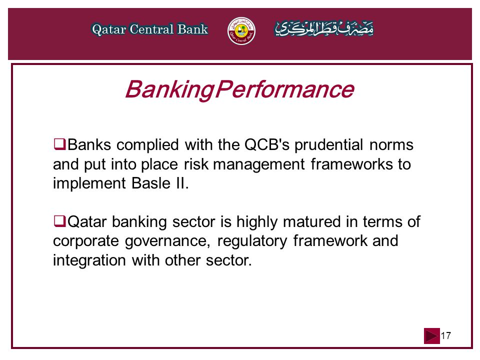 17 Banking Performance  Banks complied with the QCB's prudential norms and put into place risk management frameworks to implement Basle II.  Qatar b