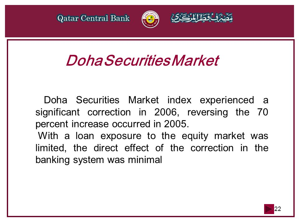 22 Doha Securities Market Doha Securities Market index experienced a significant correction in 2006, reversing the 70 percent increase occurred in 200