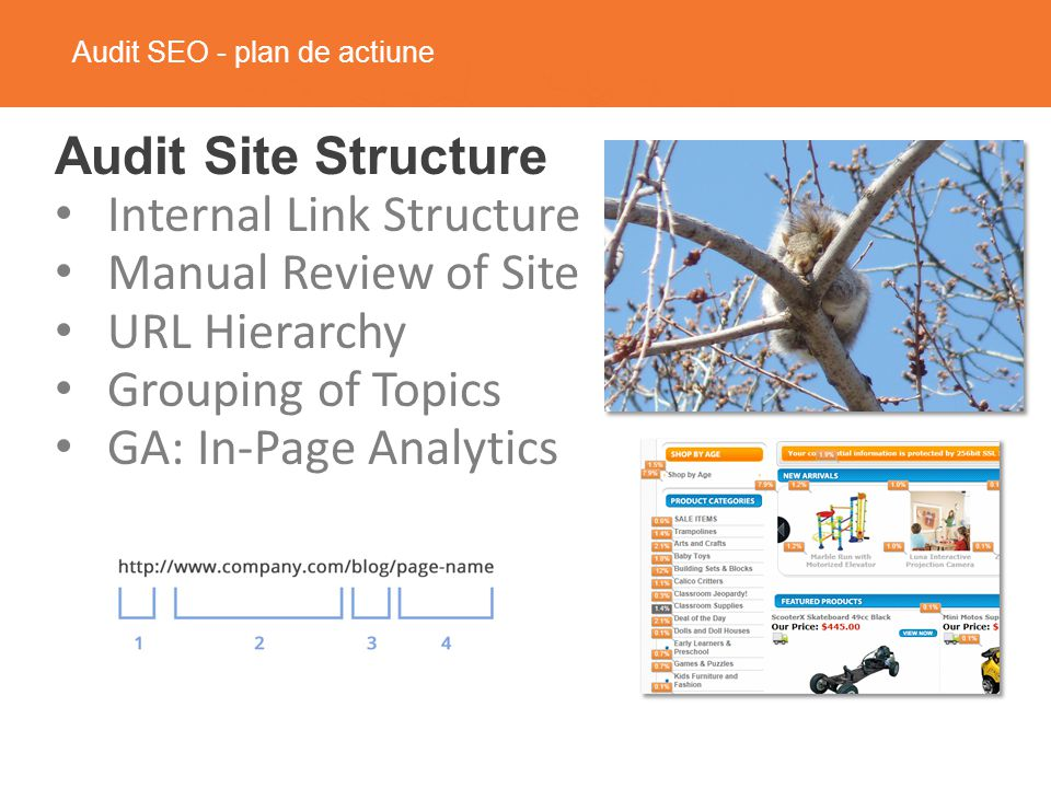 Audit SEO - plan de actiune Audit Site Structure Internal Link Structure Manual Review of Site URL Hierarchy Grouping of Topics GA: In-Page Analytics