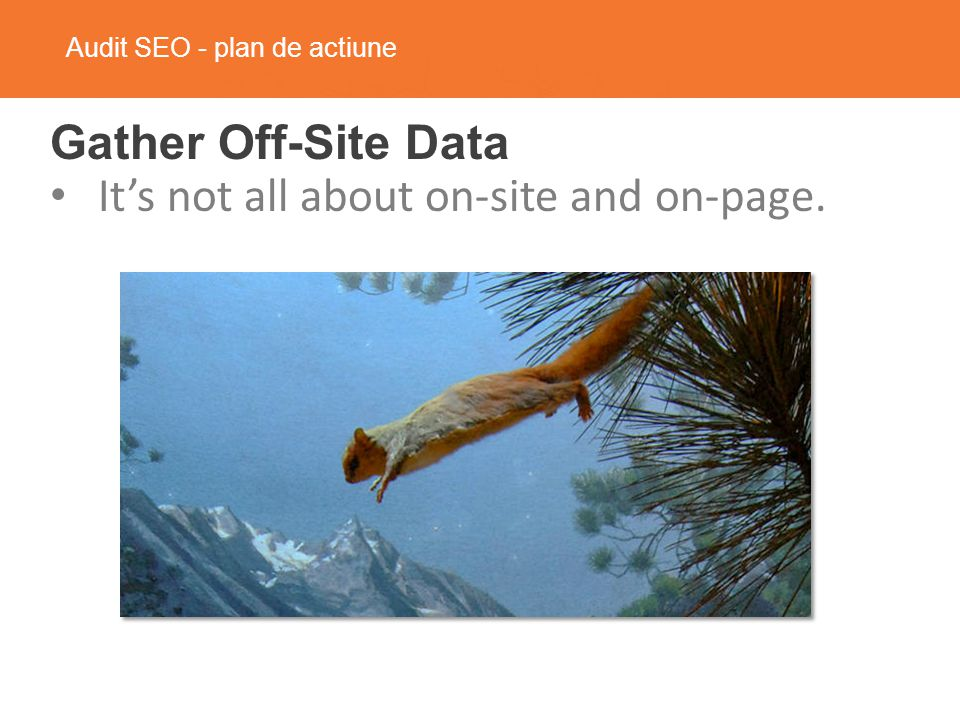 Audit SEO - plan de actiune Gather Off-Site Data It's not all about on-site and on-page.