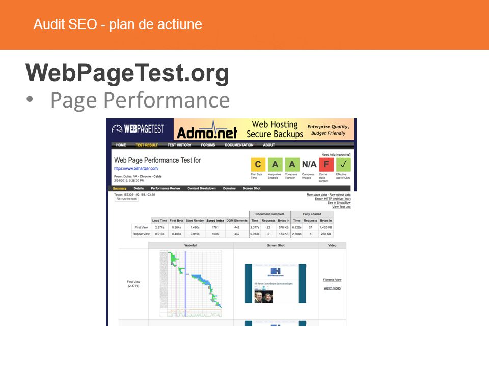 Audit SEO - plan de actiune WebPageTest.org Page Performance