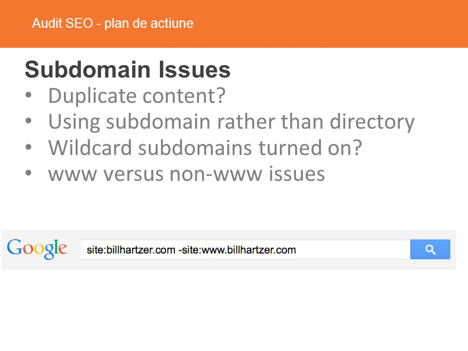 Audit SEO - plan de actiune Subdomain Issues Duplicate content.