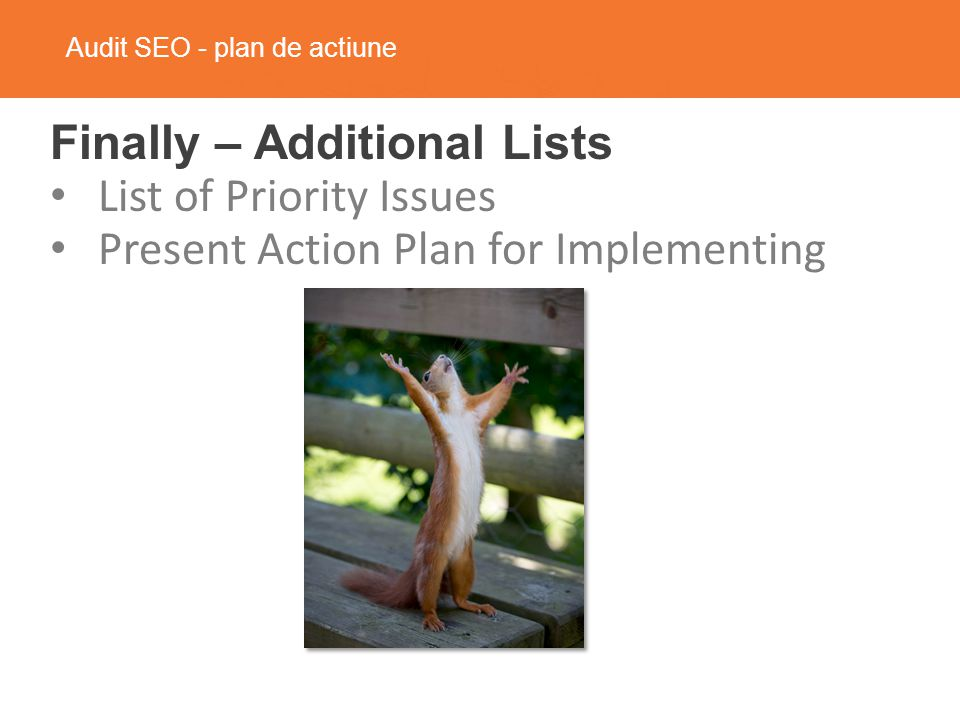 Audit SEO - plan de actiune Finally – Additional Lists List of Priority Issues Present Action Plan for Implementing
