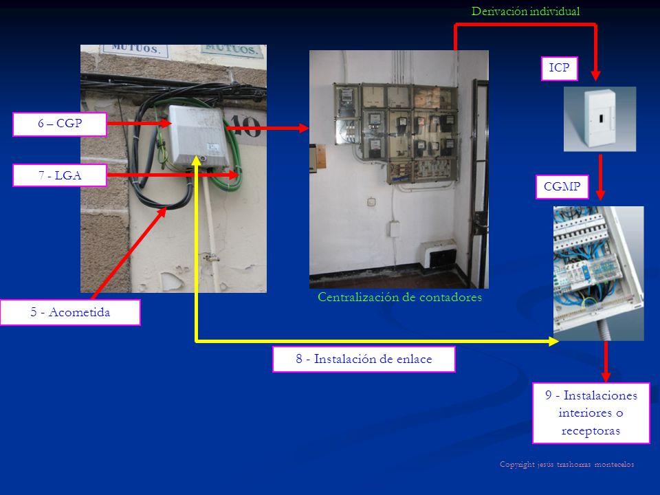 8 - Instalación de enlace Derivación individual Centralización de contadores 5 - Acometida 6 – CGP 7 - LGA 9 - Instalaciones interiores o receptoras I