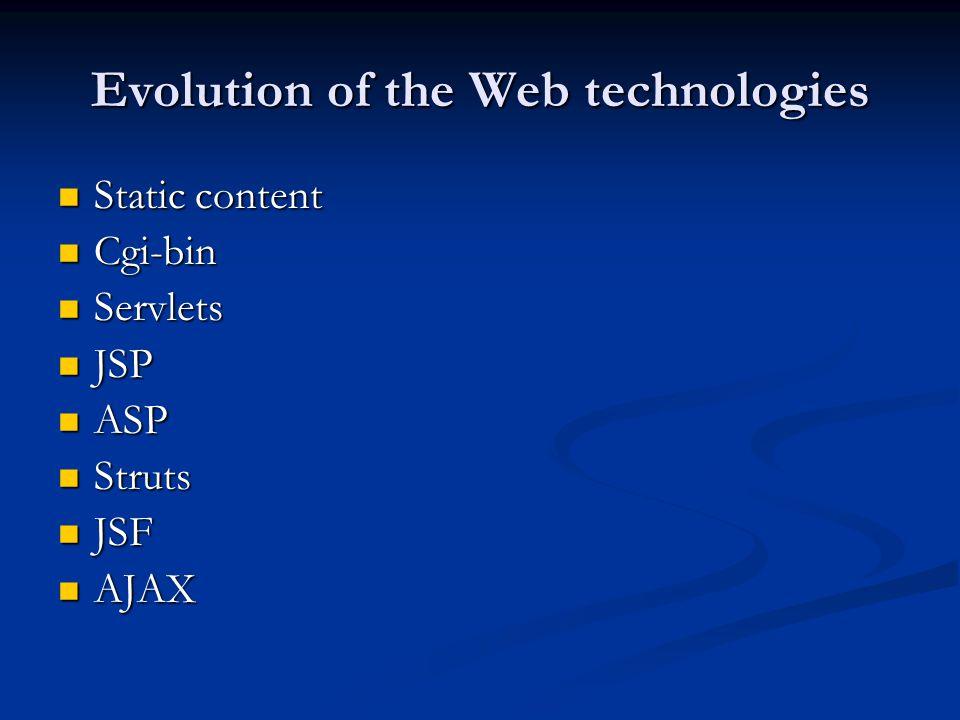 Evolution of the Web technologies Static content Static content Cgi-bin Cgi-bin Servlets Servlets JSP JSP ASP ASP Struts Struts JSF JSF AJAX AJAX