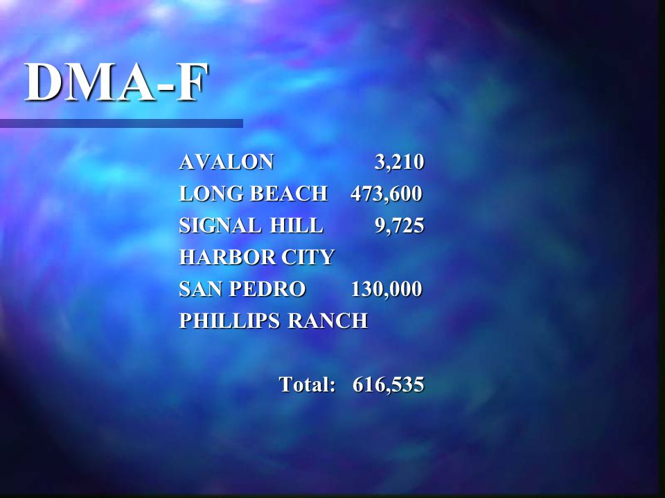 DMA-F AVALON 3,210 LONG BEACH 473,600 SIGNAL HILL 9,725 HARBOR CITY SAN PEDRO 130,000 PHILLIPS RANCH Total: 616,535