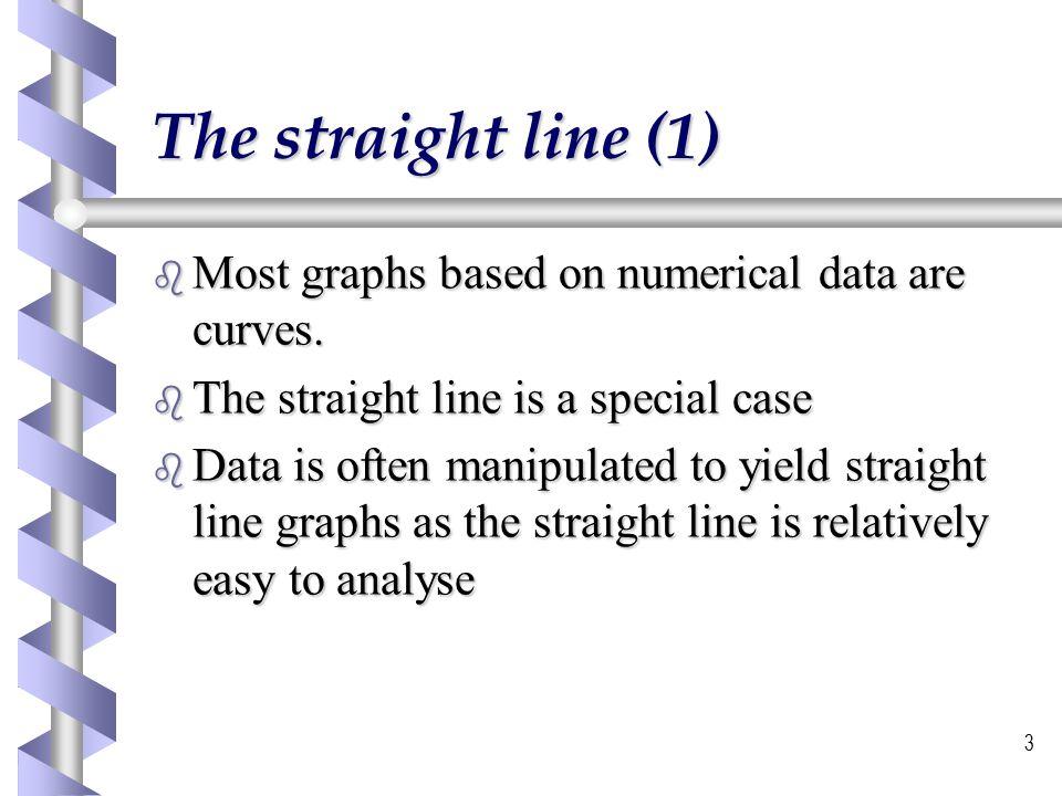 4 The Straight line (2) b Straight line equation b y = mx + c b slope = m  m =  y/  x b Intercept = c
