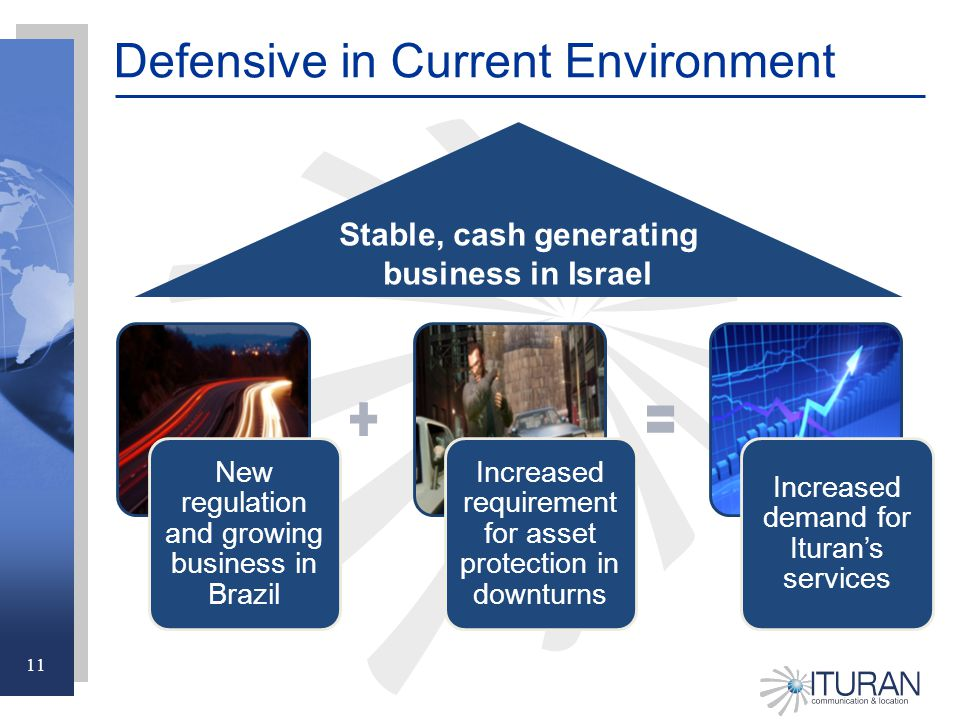 11 Defensive in Current Environment New regulation and growing business in Brazil Increased requirement for asset protection in downturns Increased demand for Ituran's services Stable, cash generating business in Israel