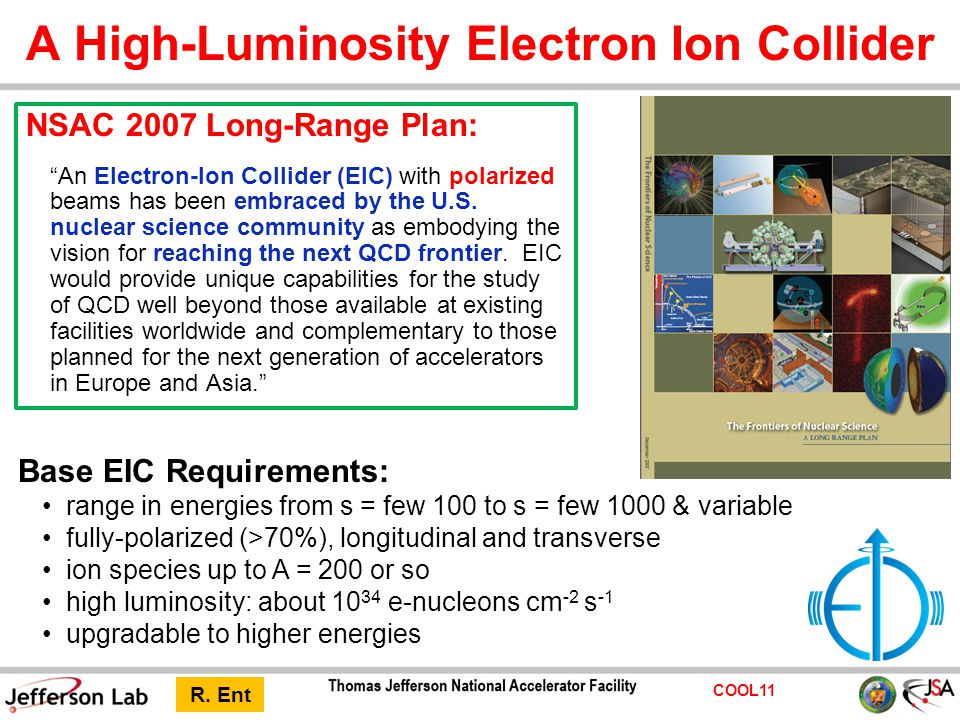 COOL11 A High-Luminosity Electron Ion Collider Base EIC Requirements: range in energies from s = few 100 to s = few 1000 & variable fully-polarized (>