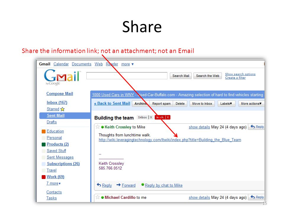 Share Share the information link; not an attachment; not an Email 15