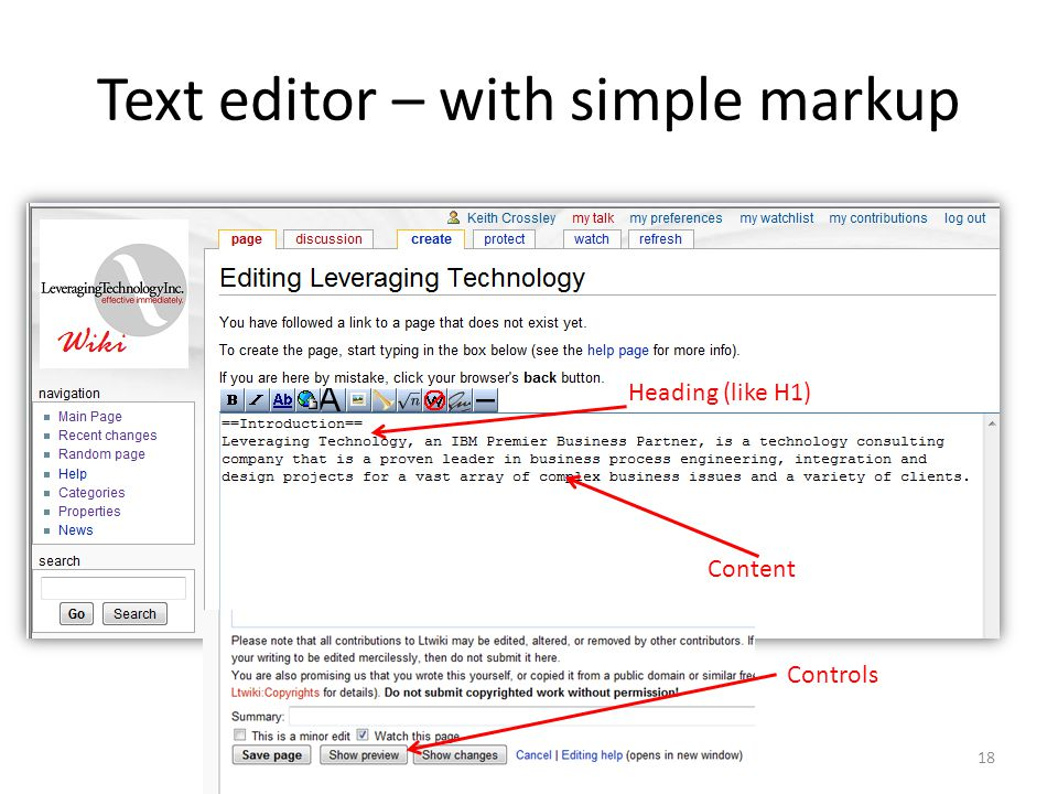 Text editor – with simple markup Heading (like H1) Content Controls 18