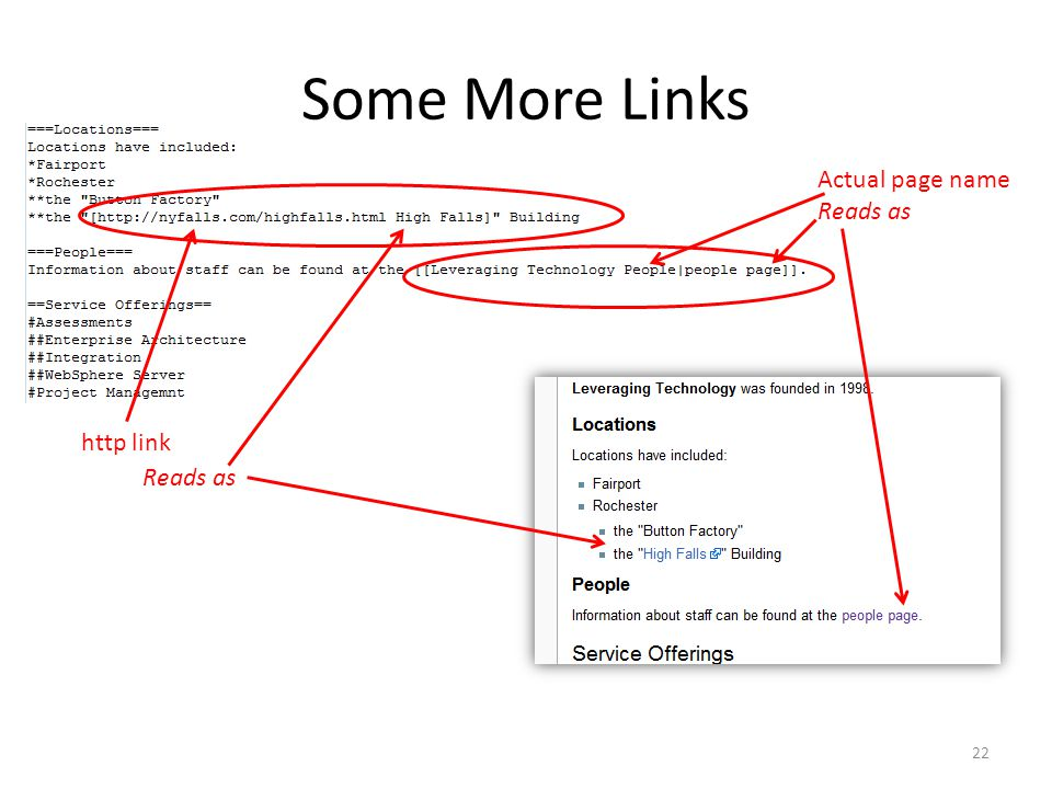 Some More Links Actual page name Reads as http link Reads as 22