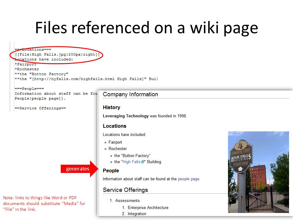 Files referenced on a wiki page generates Note: links to things like Word or PDF documents should substitute Media for File in the link.