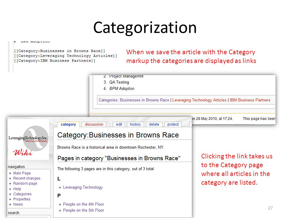 Categorization When we save the article with the Category markup the categories are displayed as links Clicking the link takes us to the Category page where all articles in the category are listed.