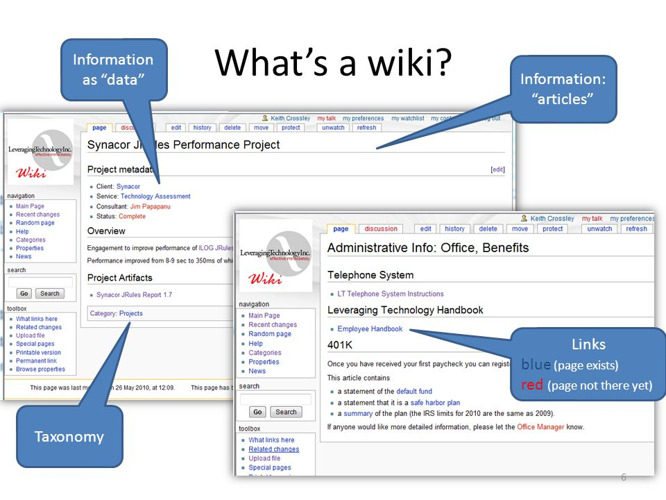"""What's a wiki? Information: """"articles"""" Links blue (page exists) red (page not there yet) Information as """"data"""" Taxonomy 6"""