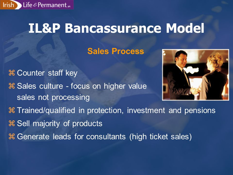 IL&P Bancassurance Model zCounter staff key zSales culture - focus on higher value sales not processing zTrained/qualified in protection, investment and pensions zSell majority of products zGenerate leads for consultants (high ticket sales) Sales Process
