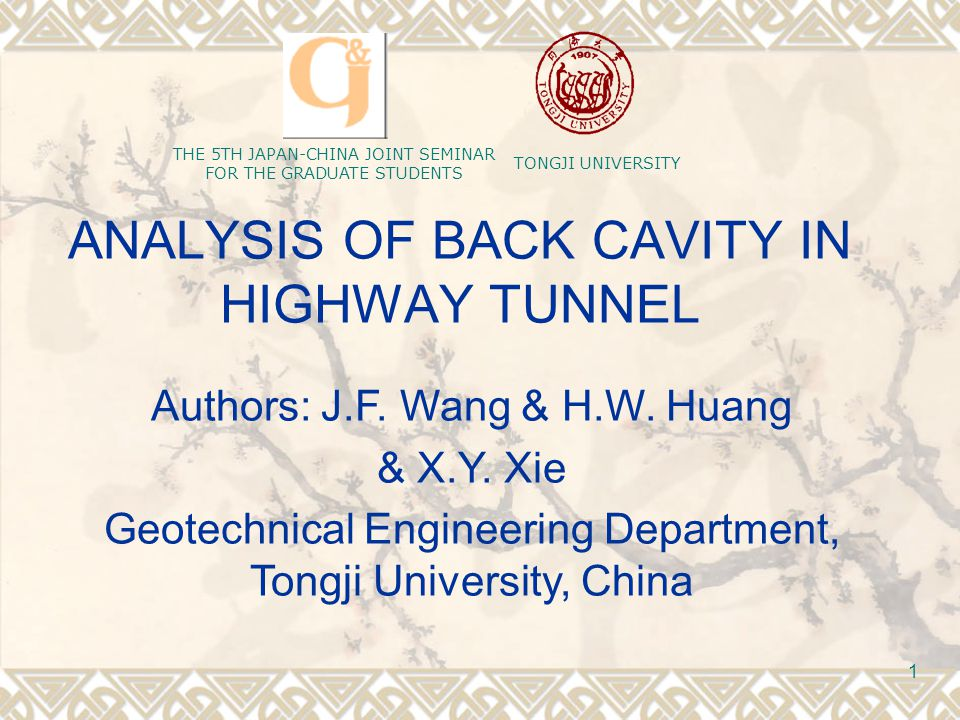 The 5th China-Japan Joint Seminar For the Graduate Students in Civil Engineering 12 When there is cavity behind the lining, the surrounding rock pressure of the crown is zero, so Mechanical Analysis of Cavity  secondary lining Internal Force with cavity,the lateral pressure of the arch ring on the is: height h1 is zero, which means q2 is also zero, so,