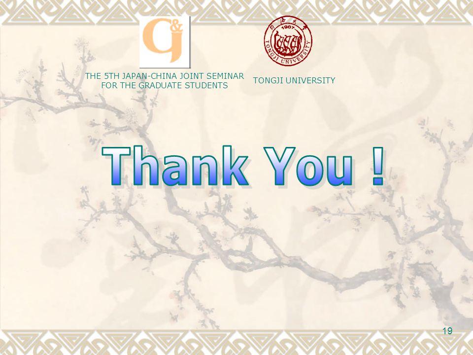 TONGJI UNIVERSITY THE 5TH JAPAN-CHINA JOINT SEMINAR FOR THE GRADUATE STUDENTS 19
