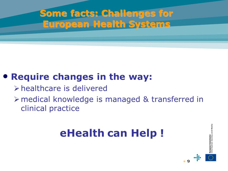 9 Some facts: Challenges for European Health Systems Require changes in the way:  healthcare is delivered  medical knowledge is managed & transferred in clinical practice eHealth can Help !