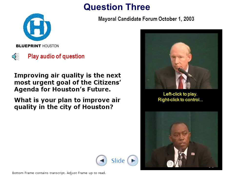 Mayoral Candidate Forum October 1, 2003 Left-click to play.