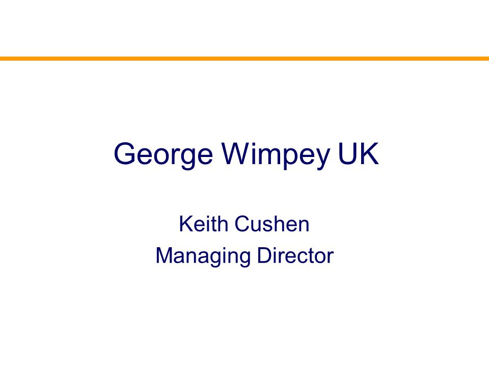 George Wimpey UK Keith Cushen Managing Director