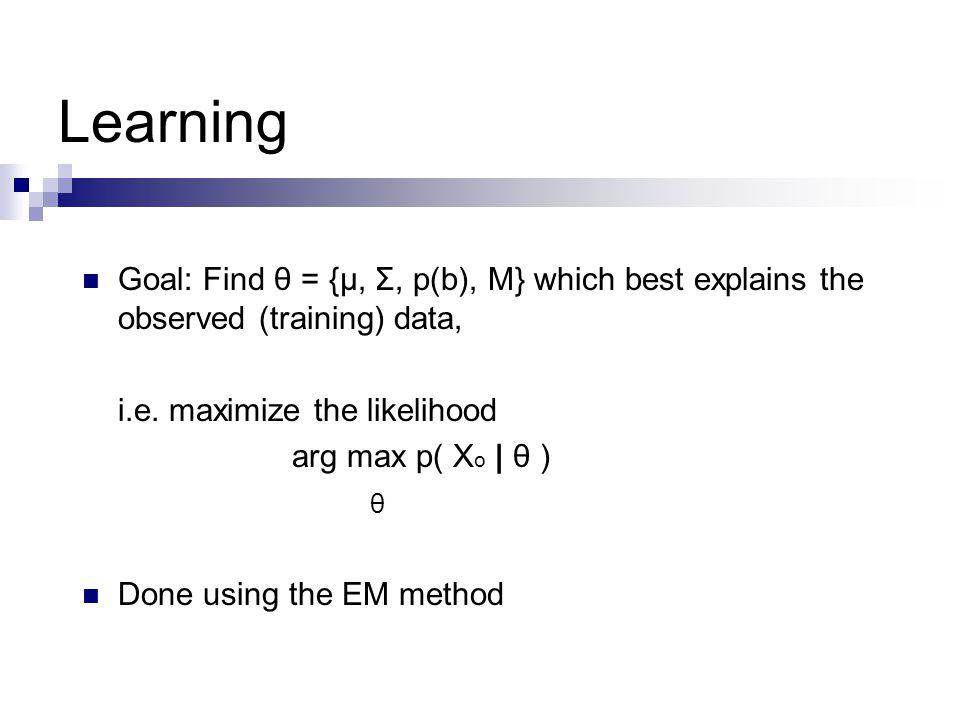 Learning Goal: Find θ = {μ, Σ, p(b), M} which best explains the observed (training) data, i.e.