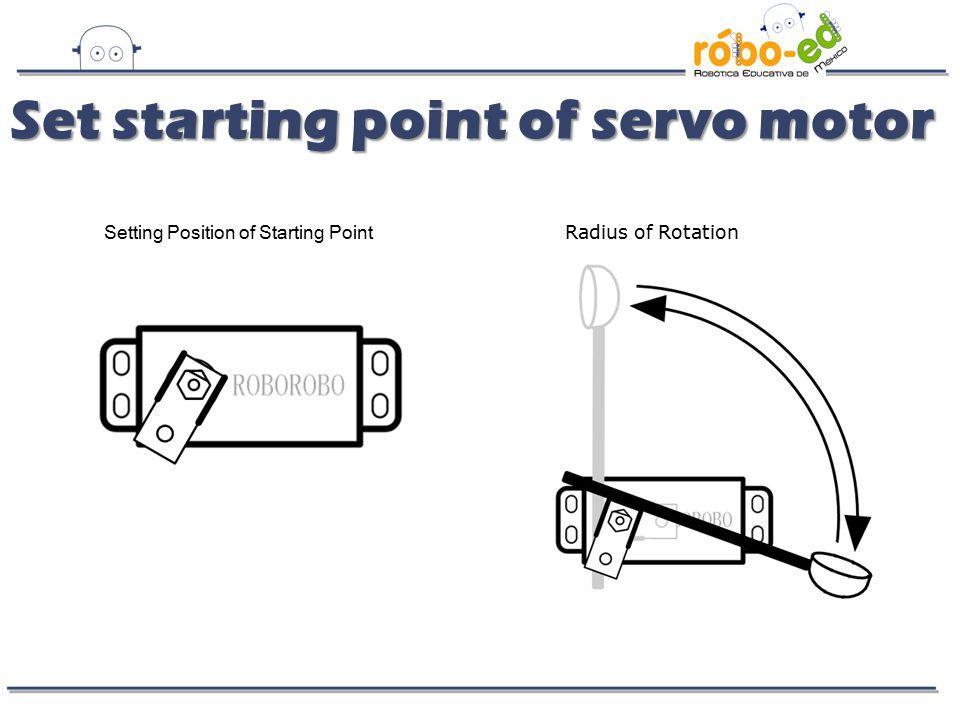 Set starting point of servo motor Set starting point of servo motor Setting Position of Starting Point Radius of Rotation