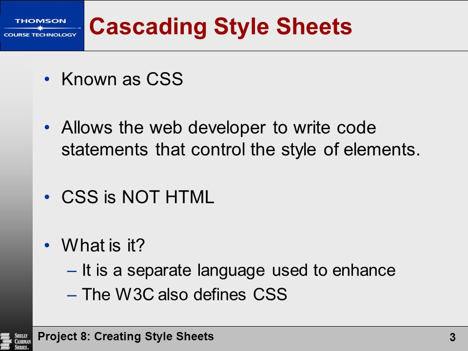 Project 8: Creating Style Sheets 3 Cascading Style Sheets Known as CSS Allows the web developer to write code statements that control the style of ele