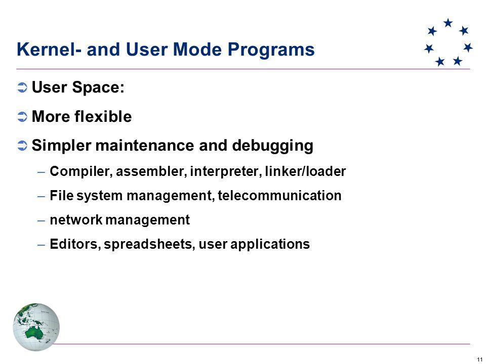 11 Kernel- and User Mode Programs  User Space:  More flexible  Simpler maintenance and debugging –Compiler, assembler, interpreter, linker/loader –File system management, telecommunication –network management –Editors, spreadsheets, user applications