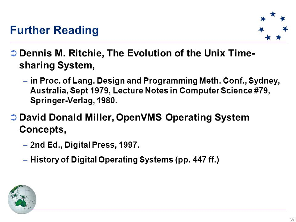 35 Further Reading  Dennis M. Ritchie, The Evolution of the Unix Time- sharing System, –in Proc.