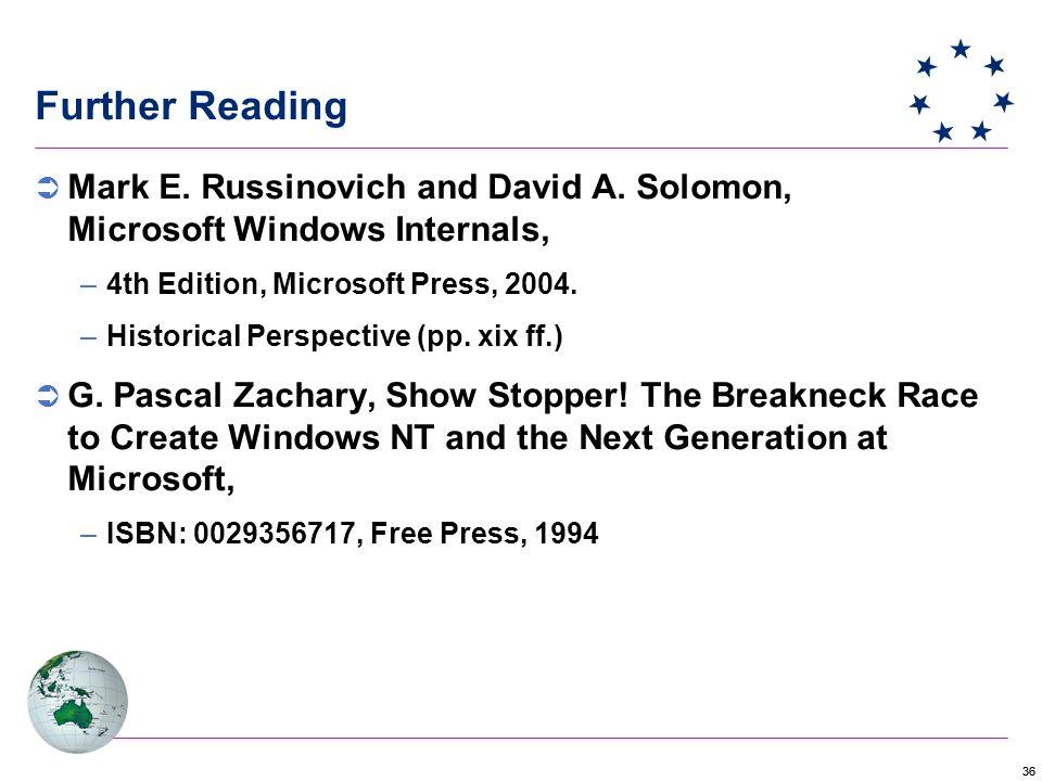 36 Further Reading  Mark E. Russinovich and David A.