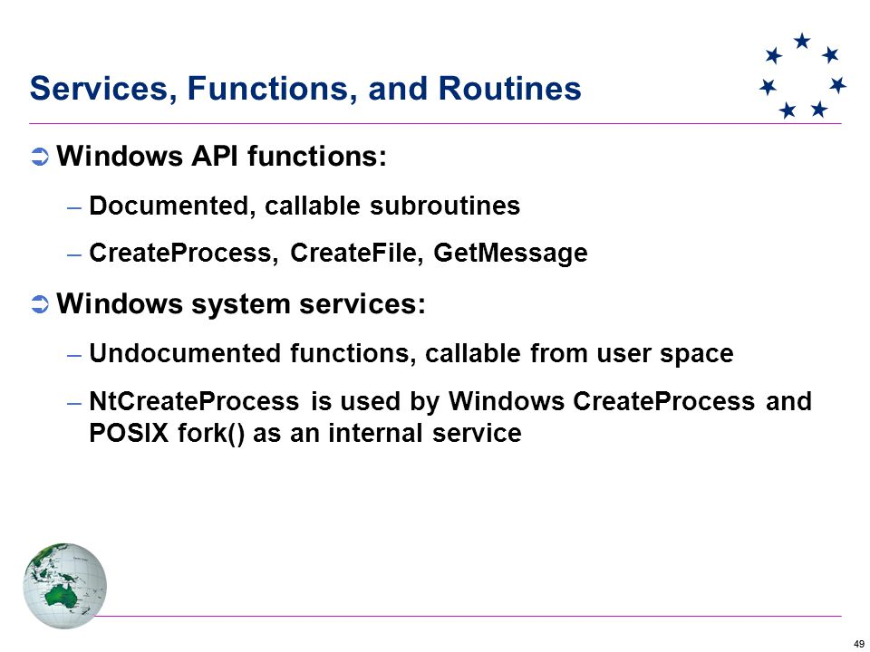 49 Services, Functions, and Routines  Windows API functions: –Documented, callable subroutines –CreateProcess, CreateFile, GetMessage  Windows system services: –Undocumented functions, callable from user space –NtCreateProcess is used by Windows CreateProcess and POSIX fork() as an internal service