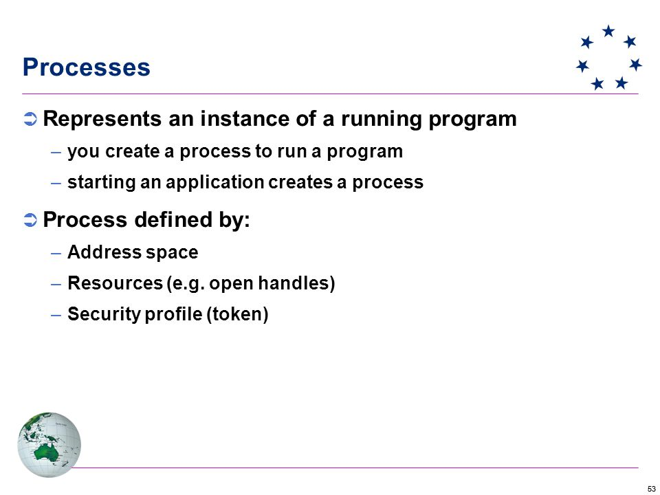 53  Represents an instance of a running program –you create a process to run a program –starting an application creates a process  Process defined by: –Address space –Resources (e.g.