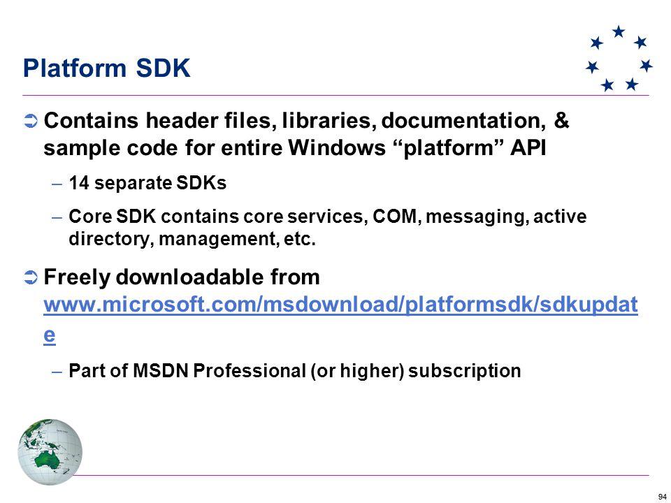 94 Platform SDK  Contains header files, libraries, documentation, & sample code for entire Windows platform API –14 separate SDKs –Core SDK contains core services, COM, messaging, active directory, management, etc.
