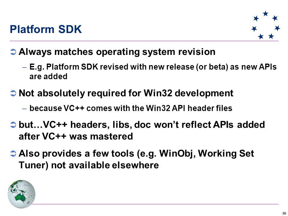 95 Platform SDK  Always matches operating system revision –E.g.