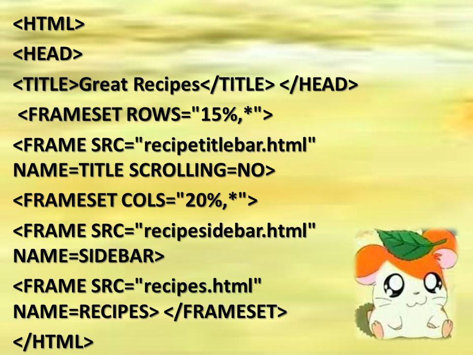 <HTML><HEAD> Great Recipes Great Recipes </HTML>