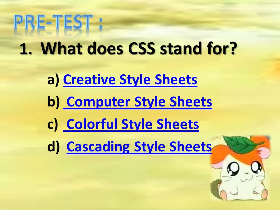 1. What does CSS stand for? a)Creative Style SheetsCreative Style Sheets b) Computer Style Sheets Computer Style Sheets c) Colorful Style Sheets Color