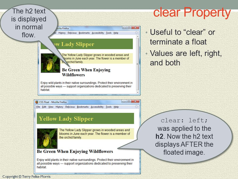 Copyright © Terry Felke-Morris clear Property Useful to clear or terminate a float Values are left, right, and both The h2 text is displayed in normal flow.