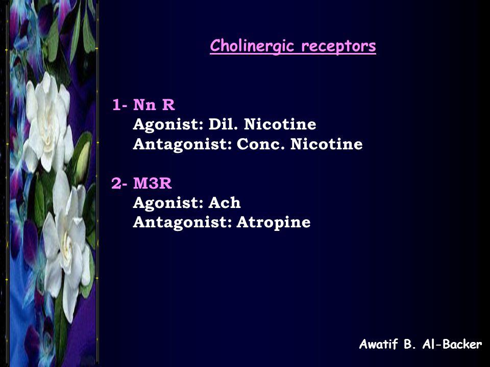 Awatif B. Al-Backer Cholinergic receptors 1- Nn R Agonist: Dil. Nicotine Antagonist: Conc. Nicotine 2- M3R Agonist: Ach Antagonist: Atropine