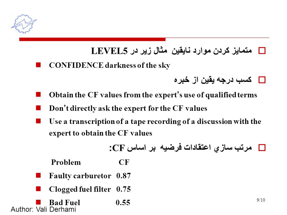 Author: Vali Derhami 9/10  متمايز كردن موارد نايقين مثال زير در LEVEL5 CONFIDENCE darkness of the sky  كسب درجه يقين از خبره Obtain the CF values from the expert ' s use of qualified terms Don ' t directly ask the expert for the CF values Use a transcription of a tape recording of a discussion with the expert to obtain the CF values  مرتب سازي اعتقادات فرضيه بر اساس CF: Problem CF Faulty carburetor 0.87 Clogged fuel filter 0.75 Bad Fuel 0.55