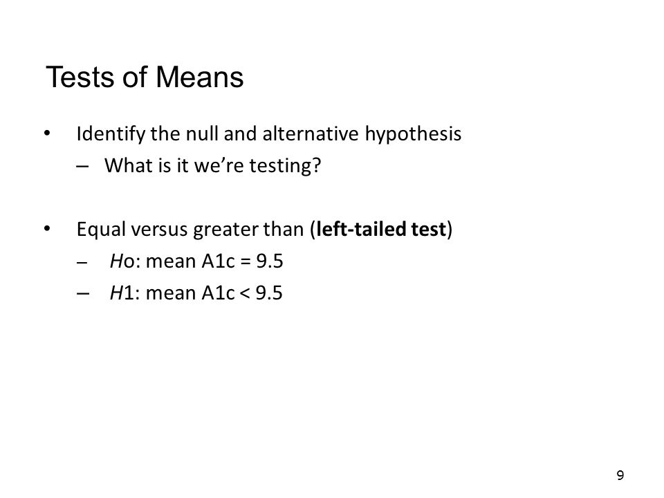 Calculate the test statistic 30 Tests of Means