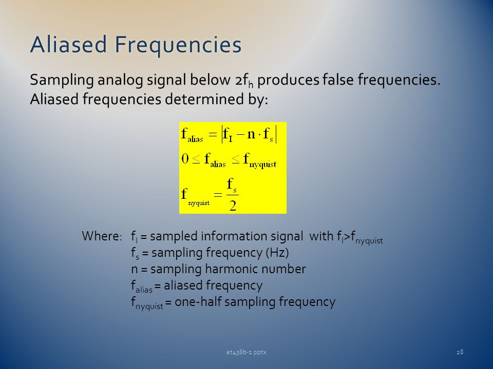 Aliased FrequenciesAliased Frequencies et438b-2.pptx28 Sampling analog signal below 2f h produces false frequencies.