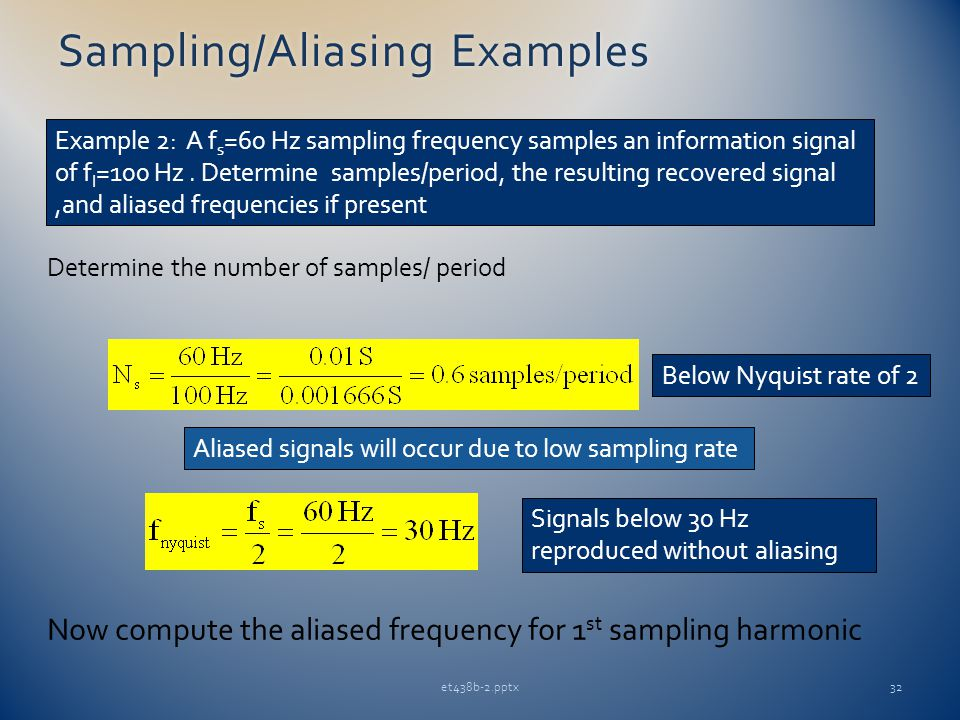 et438b-2.pptx32 Sampling/Aliasing ExamplesSampling/Aliasing Examples Example 2: A f s =60 Hz sampling frequency samples an information signal of f I =100 Hz.